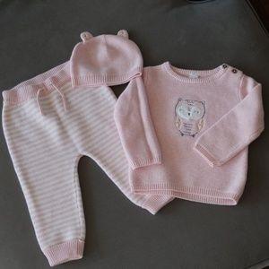 Three piece pink owl sweater set